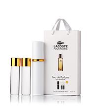 Подарочный парфюмерный набор с феромонами женский Lacoste pour femme(Лакоста пур фем)3*15 мл