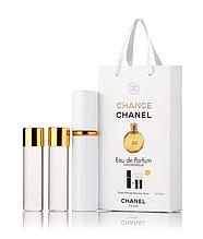 Подарочный парфюмерный набор с феромонами  женский Chanel Chance Parfum (Шанель Шанс Парфюм) 3x15 мл