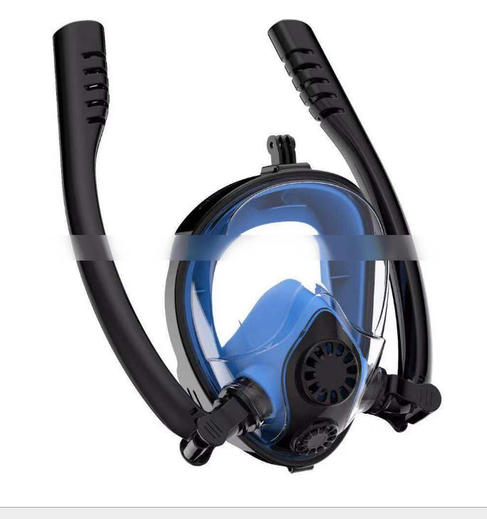 Полнолицевая маска для плавания с двумя трубками, маска для снорклинга,  черно-синяя, S-M,  L-XL