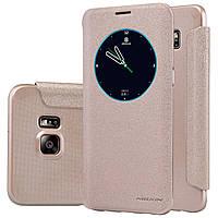 Кожаный чехол книжка Nillkin Sparkle для Samsung Galaxy S6 Edge PLUS золотистый