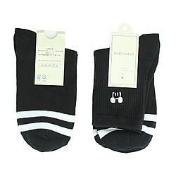 Чорні шкарпетки з принтом, молодіжні високі шкарпетки з смужками р. 37-41