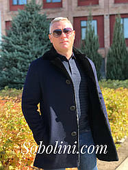 Мужское пальто из кашемира  с мехом норки внутри