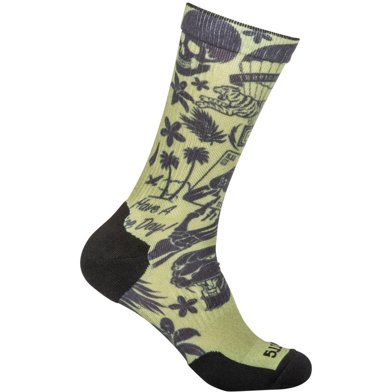 Оригинал Антибактериальные носки 5.11 Sock & Awe Crew Tropic Thunder 10041AE Medium, Army Green