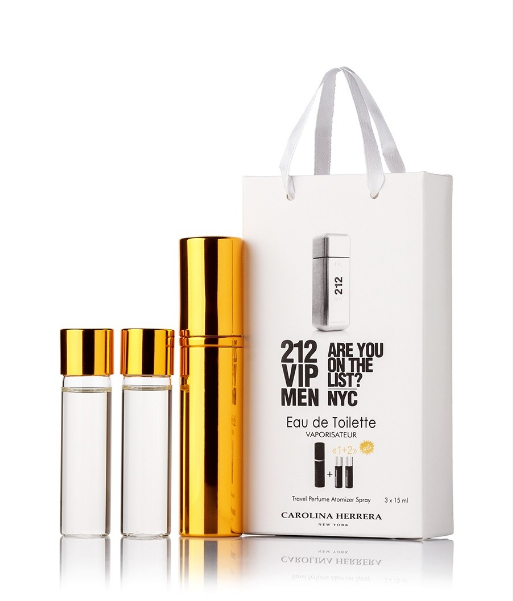 Подарочный парфюмерный набор с феромонам Carolina Herrera 212 VIP Men (Каролина Эррера 212 Вип Мэн) 3x15 мл