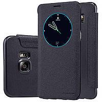 Кожаный чехол книжка Nillkin Sparkle для Samsung Galaxy S6 Edge PLUS чёрный