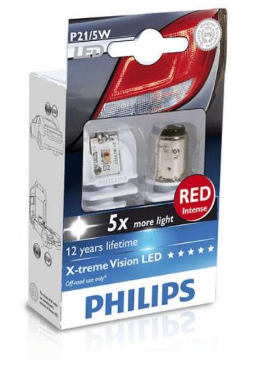 Лампа двухконтактная P21/5W RED (2шт)