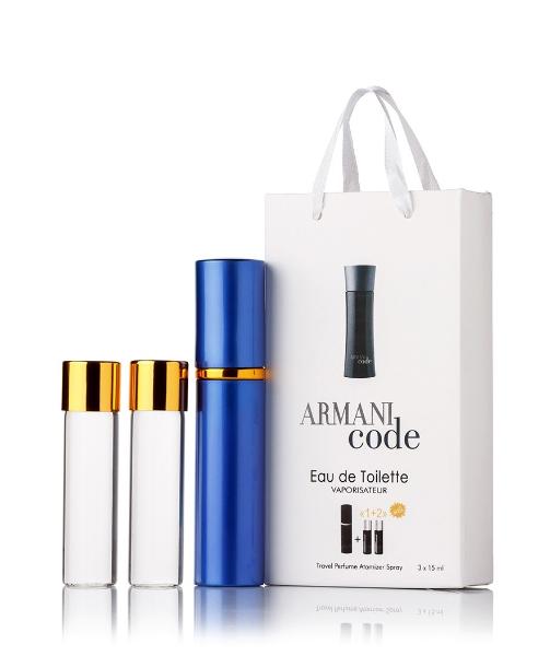 Подарочный парфюмерный набор с феромонами мужской Giorgio Armani Armani Code (Джорджио Армани Код) 3x15 мл