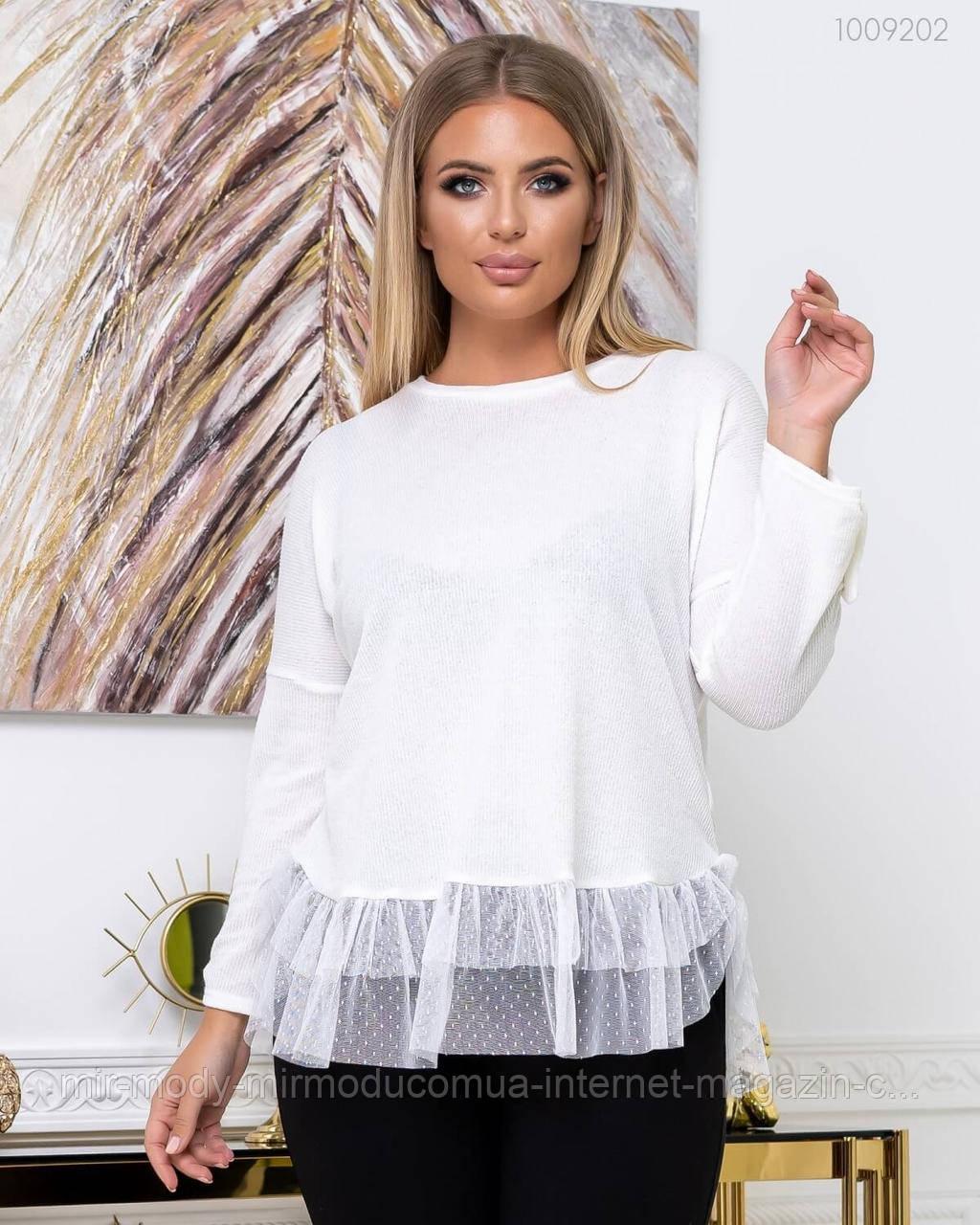 Стильный женский свитер из шерсти Кофру с 50 по 56 размер (пио)