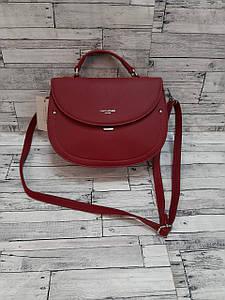 Стильная наплечная сумка из экокожи красного цвета 24*18 см