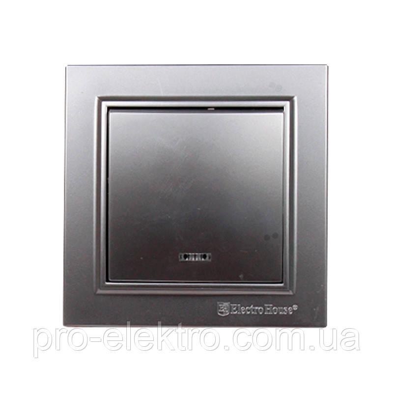 Выключатель с подсветкой (серебряный камень) EH-2183-ST