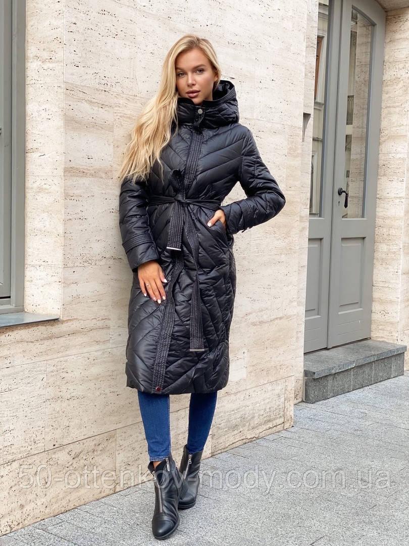 Жіноче демісезонне подовжене пальто з плащової тканини на холоффайбере
