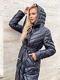 Жіноче демісезонне подовжене пальто з плащової тканини на холоффайбере, фото 2