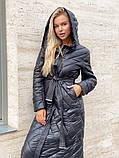 Жіноче демісезонне подовжене пальто з плащової тканини на холоффайбере, фото 3