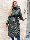 Жіноче демісезонне подовжене пальто з плащової тканини на холоффайбере, фото 4