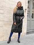 Жіноче демісезонне подовжене пальто з плащової тканини на холоффайбере, фото 5
