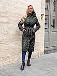 Жіноче демісезонне подовжене пальто з плащової тканини на холоффайбере, фото 6