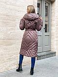 Жіноче демісезонне подовжене пальто з плащової тканини на холоффайбере, фото 8