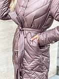 Жіноче демісезонне подовжене пальто з плащової тканини на холоффайбере, фото 9