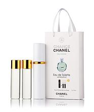 Подарочный парфюмерный набор с феромонами женский Chanel Chance Eau Fraiche (Шанель Шанс Фреш) 3x15 мл
