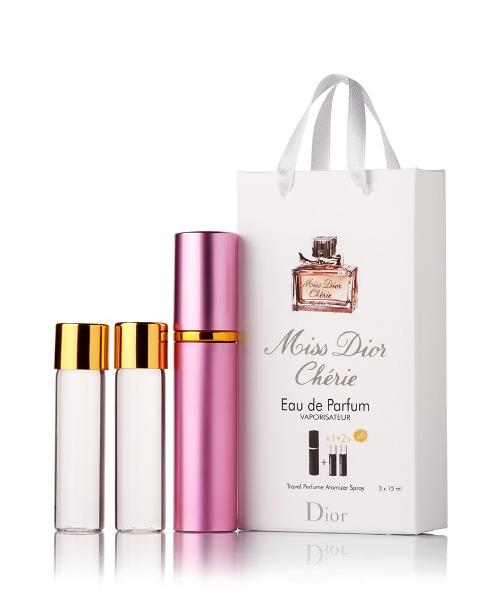 Подарочный парфюмерный набор с феромонами женский Christian Dior Miss Dior Cherie (Мисс Диор Шери) 3x15 мл