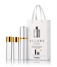 Подарочный парфюмерный набор с феромонами мужской Chanel Allure homme Sport (Шанель Аллюр Хомм Спорт) 3x15 мл
