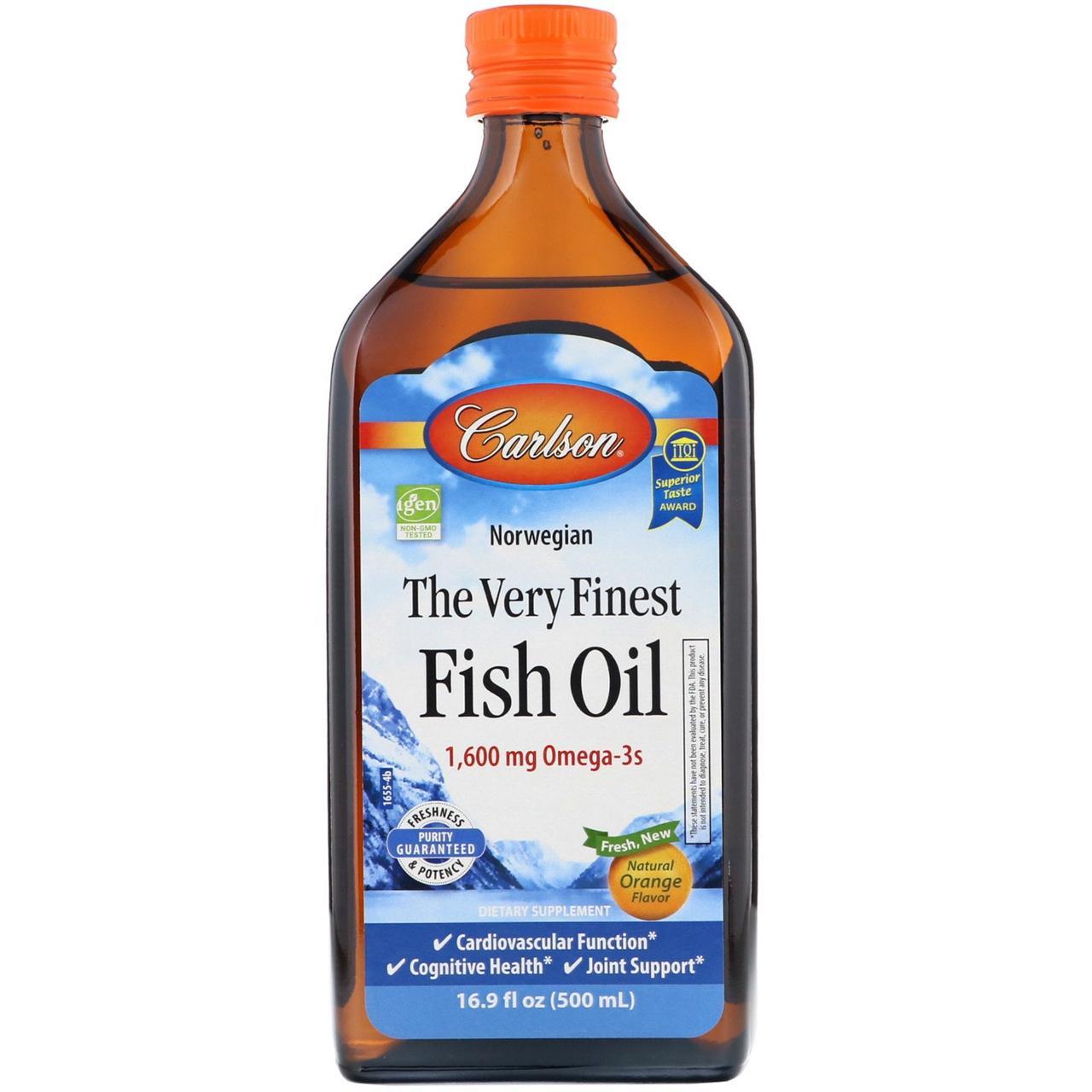 Норвежская серия, самый лучший рыбий жир, натуральный апельсиновый вкус, 1600 мг, 500 мл, Carlson Labs