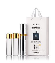 Подарочный парфюмерный набор с феромонами мужской Chanel Bleu de Chanel (Шанель Блю де Шанель) 3x15 мл
