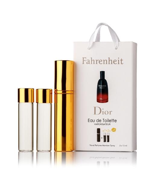 Подарочный парфюмерный набор с феромонами мужской Christian Dior Fahrenheit (Кристиан Диор Фаренгейт) 3x15 мл