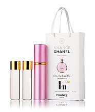 Подарочный парфюмерный набор с феромонами женский Chanel Chance Eau Tendre (Шанель Шанс Тендр) 3x15 мл
