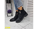 Ботинки деми на низком каблуке на шнуровке К2308, фото 3