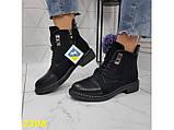 Ботинки деми на низком каблуке на шнуровке К2308, фото 6