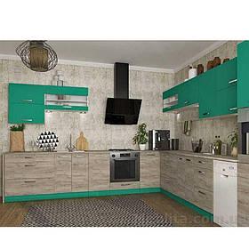 Кухня кутова «Шарлотта» | колір: дуб крафт сірий/абсент Sokme