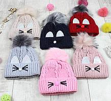 """Детсике шапки зимові для дівчинки """"Вушка"""""""