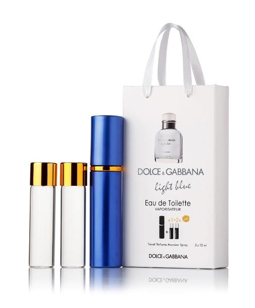 Подарочный парфюмерный набор с феромонами мужской D&G Light Blue pour Homme (Дольче Габбана Лайт Блю) 3x15 мл