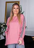 Розовая асимметричная толстовка с капюшоном, фото 2