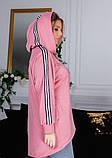 Розовая асимметричная толстовка с капюшоном, фото 4