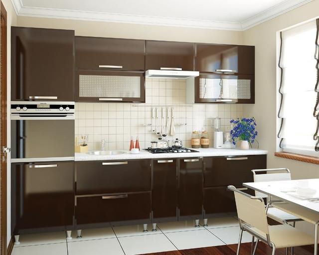 Кухня «СОФИЯ»   фасад Престиж глянец   цвет: шоколад глянец Sokme