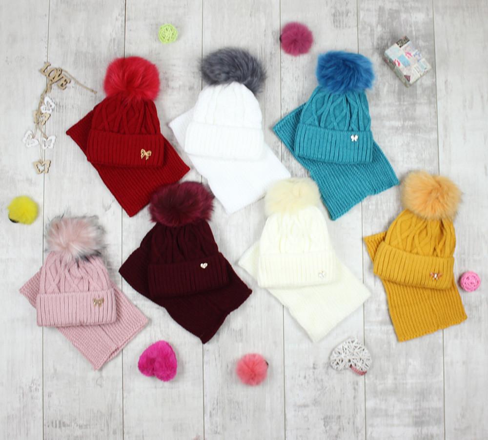 """Детсике шапки з хомутом зимові для дівчинки """"Бантик"""""""