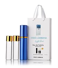 Подарочный парфюмерный набор с феромонами женский Dolce&Gabbana Light Blue (Дольче Габбана Лайт Блю) 3x15 мл