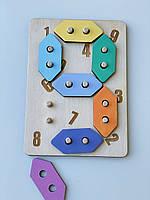 Геоборд цифри Intellect Wood 21*15 дерев'яна іграшка (b00003)