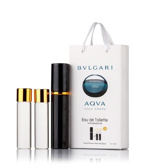 Подарочный парфюмерный набор с феромонами мужской Bvlgari Aqva Pour Homme (Булгари Аква Пур Хомм) 3x15 мл