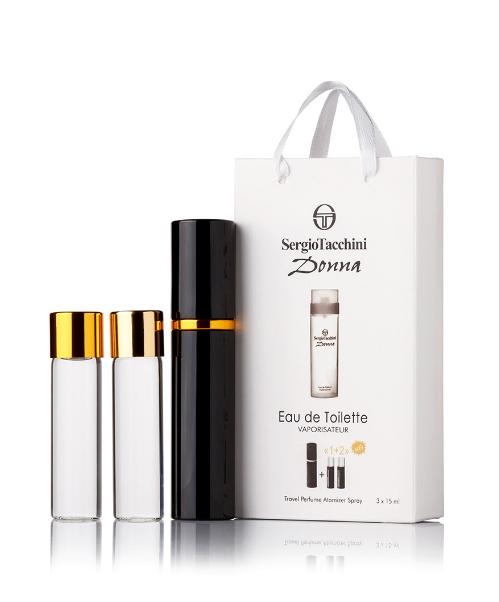Подарочный парфюмерный набор с феромонами женский Sergio Tacchini Donna (Сержио Таччини Донна) 3x15 мл