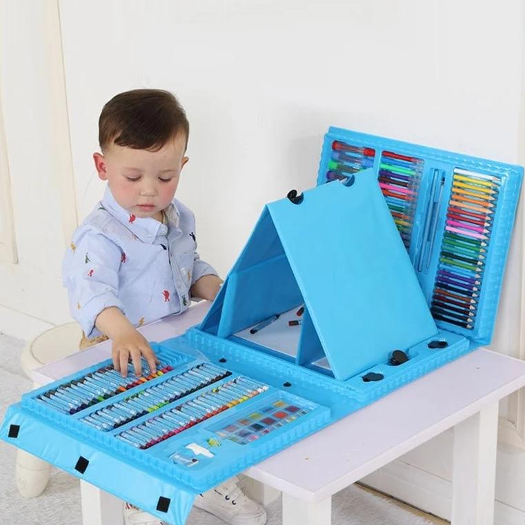 Набір для дитячої творчості у валізі з 208 предметів | Набір для малювання з мольбертом