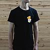 Мужская черная футболка, карман с пиццей