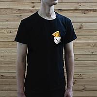 Мужская черная футболка, карман с пиццей, фото 1
