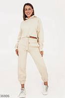 Молочный костюм с укороченным худи S M L, фото 1