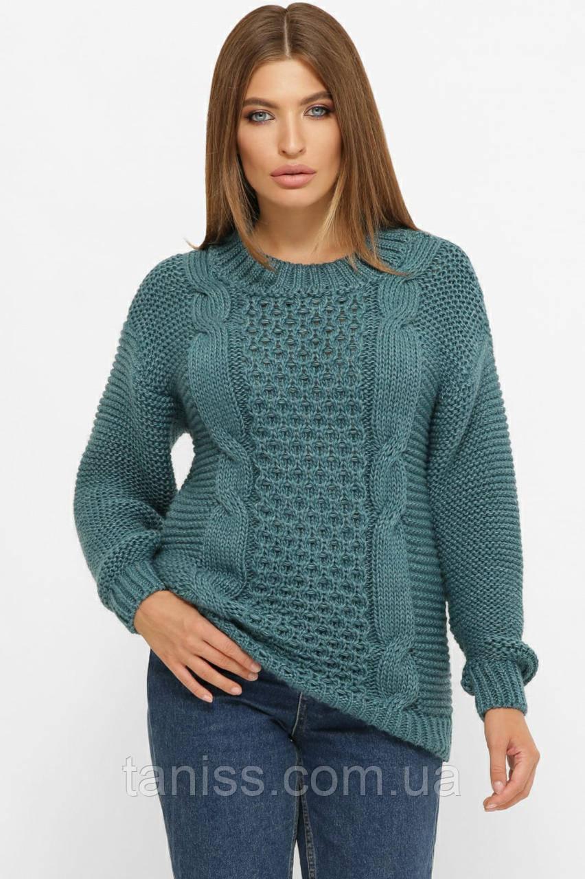 Жіночий в'язаний светр оверсайз,склад 50% шерсть, 50% акрил.,розмір один 44-50. темно-бірюзовий