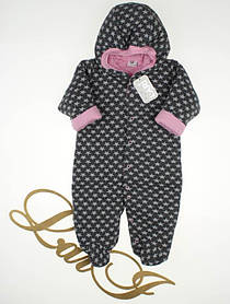 """Утепленный комбинезон для новорожденных девочек """"Комета"""" серый с розовым, 68 размер"""