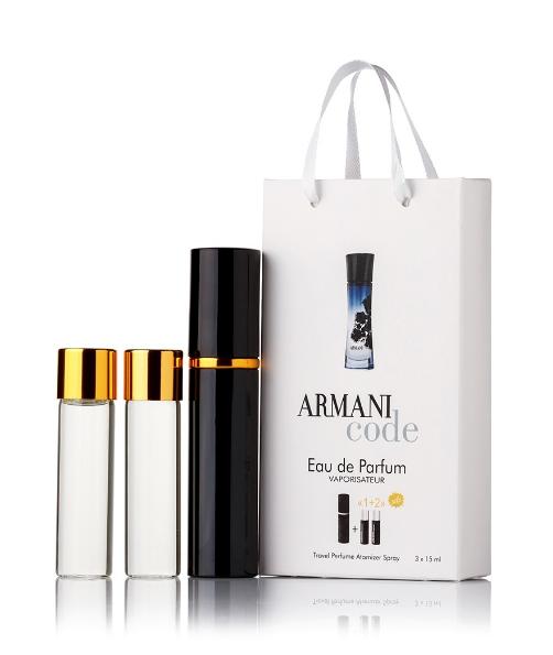 Подарочный парфюмерный набор с феромонами женский Giorgio Armani Armani Code women (Армани Код Вумен) 3x15 мл