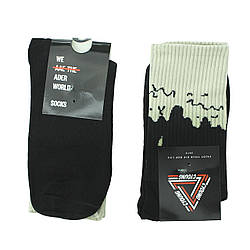 Чорні шкарпетки молодіжні довгі, високі шкарпетки з патьоками р. 37-41